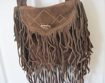 fc3e41884ff4 Vintage Boho Brown Suede Purse with Fringe