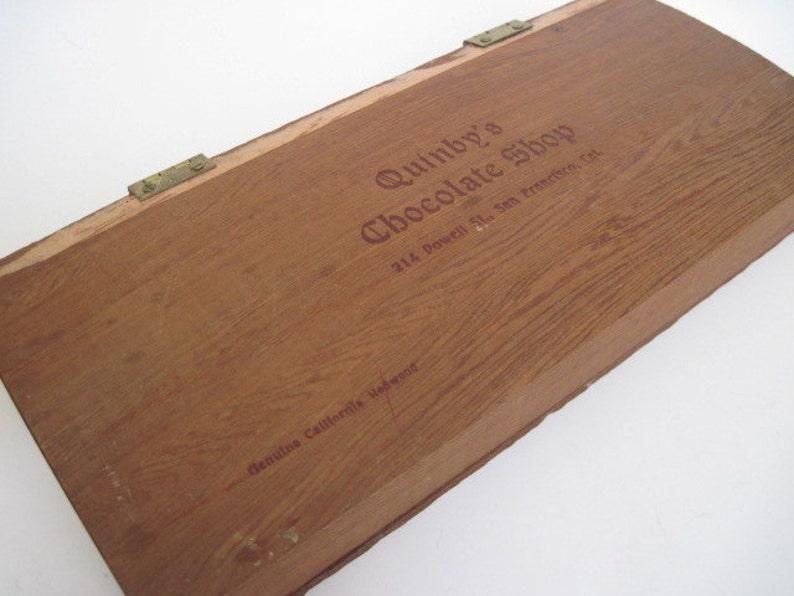 Vintage Quinbys Chocolate Shop California Redwood Box