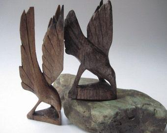 Vintage  Pair of Carved Wood Birds