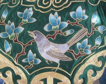 Vintage Embroidered Bird Asian Silk Panel Applique Embellishment