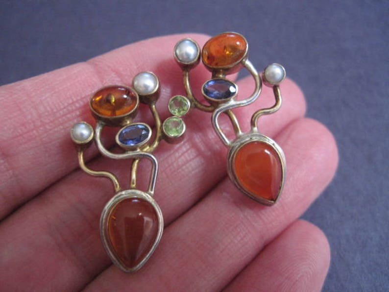 Vintage Michou Modernist Mixed Gemstone Pierced Earrings