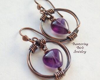 Amethyst Heart Earrings, February Birthstone Unique Gift, Purple Gemstone in Wire Wrapped Copper Hoops, Artisan Metalwork