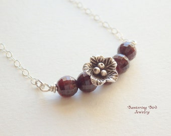 Red Garnet Bar Necklace with Thai Hill Tribe Silver Flower Pendant, Sterling Silver Layering Necklace, January Birthstone, Mother's Day Gift