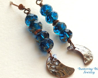 Midnight Blue Crescent Moon Stack Earrings, Czech Glass Beads and Hammered Copper Boho Jewelry