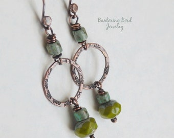 Olive Green and Turquoise Blue Czech Glass Bead Earrings, Southwestern Jewelry, Rustic Copper Circle Dangle, Hammered Copper Jewelry