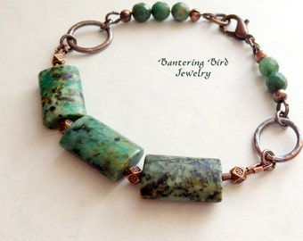 Beaded Green Stone Bracelet, African Turquoise and Jade with Hammered Copper, Bohemian Copper Jewelry