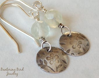 Small Floral Sterling Silver Earrings with Pale Green Fluorite Drop, Gemstone Jewelry for Spring, Mother's Day gift