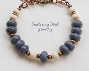 Denim Blue Coral Bracelet with Creamy Riverstone and Copper, Unusual Stone Beads, Sponge Coral, Fall Bohemian Jewelry