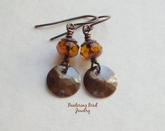 Small Hammered Copper Earrings with Brown Glass Bead and Sequin Disc Dangle, Casual Jewelry for Spring