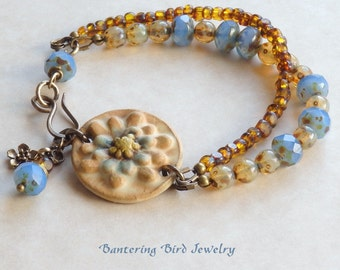 Ceramic Flower Beaded Bracelet, Glass Bead and Brass, Beige, Brown, and Cornflower Blue Double Strand, Unique Mother's Day Gift