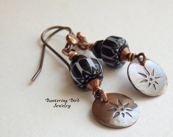 Small North Star Earrings, Black and White Glass Chevron Beads with Rustic Copper Charms, Hand Stamped Jewelry, Unique Gift