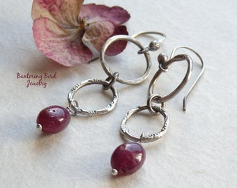 Long Genuine Ruby Earrings, Oxidized Sterling Silver, Red Gemstone Dangle on Fine Silver Hoops, July Birthstone, Modern Mother's Day Gift