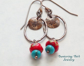 Genuine Turquoise and Coral Lampwork Glass Bead Earrings, Hammered Copper Oval Hoops, Unusual Southwestern Jewelry