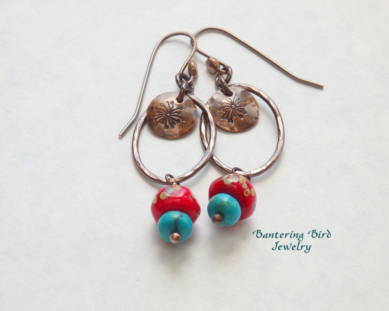 303a36933 Genuine Turquoise and Coral Lampwork Glass Bead Earrings   Etsy