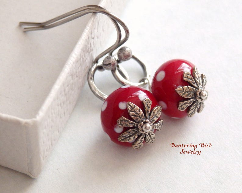 c1d692cc3 Polka Dots on Red Earrings Fine Silver Hoops and Lampwork   Etsy