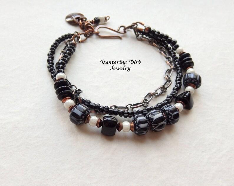 46951bb8aa0 Black and White Beaded Bracelet Bohemian Multi Strand with | Etsy