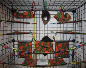 15  Pc  -  Orange Camo - Sugar Glider Cage Set - Rat