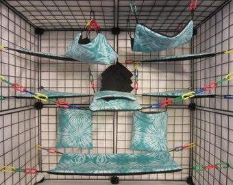 15 pc Sugar Glider Cage Set - Rat - Blue Tie Dye - Rat