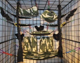 15  Pc  - w/ Ropes Desert Camo - Sugar Glider Cage Set - Rat