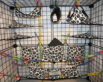 15  Pc  -  paw prints - Sugar Glider Cage Set - Rat
