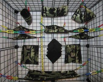 15  Pc  -  Forrest Camo - Sugar Glider Cage Set - Rat