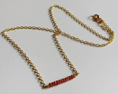 Red carnelian bar necklace Princess bar necklace Beaded red stone and golden chain necklace