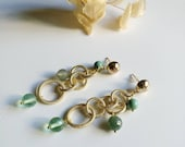 Green golden dangle earrings Light earrings Jewelry boho set Green gemstone earrings Christmas gift under 10
