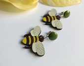 Bee earrings Whimisical jewelry Laser cut earrings Wood jewelry Woodland earrings Modern jewelry Bee pendant