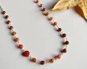 Red coral carnelian silver necklace Agate necklace Red necklace Layering necklace Boho long necklace Wire wrapping necklace