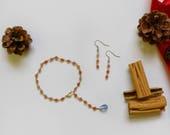 Jewelry set antique rose gemstone Hadmade rosary jewelry Pink bracelet and earrings Pink gemstone jewelry parure
