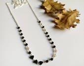 Onyx hematite necklace Black necklace Layering necklace Boho long necklace Wire wrapping necklace Boho jewelry Silver necklace Black jewelry
