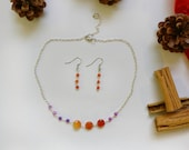 Multi gemstone choker necklace and earrings Purple orange silver jewelry set Christmas jewelry gift Purple orange gemstone jewelry set