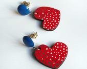 Heart shaped red earrings Heart earrings Wood light earrings Red jewelry Red handcrafted earrings Vegan earrings Vegan jewelry