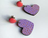 Purple pink heart shaped earrings Light wood earrings Laser cut jelwery Heart earrings Heart pendant Christmas jewelry