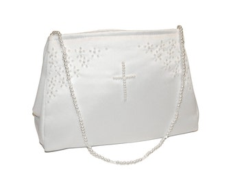 Bridesmaid//Flower Girl BN White Satin Bag With Beaded Handle  Holy Communion