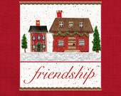 2.Christmas houses, Christmas print, Christmas friendship, Christmas mixed media