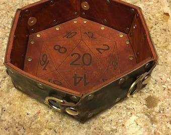 Hexagonal folding leather dice tray