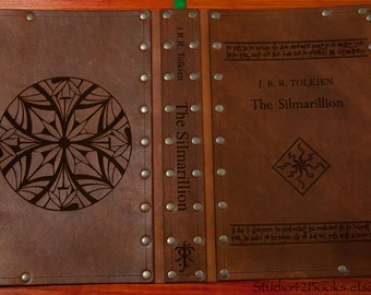 Leather covered copy of The Silmarillion by J.R.R. Tolkien