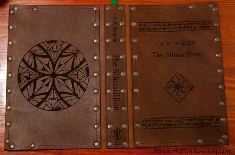 Leather covered copy of The Silmarillion by J.R.R. Tolkien image 1