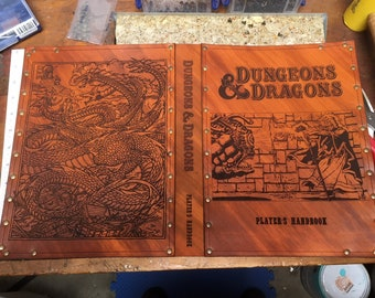 Leather cover for Dungeons and Dragons fifth edition players guide.