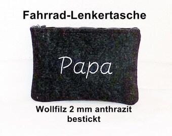 Wool Felt - bicycle bag anthracite, embroidered, handlebars