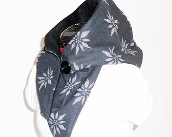 Hooded Scarf-wool cloth anthracite-grey-black