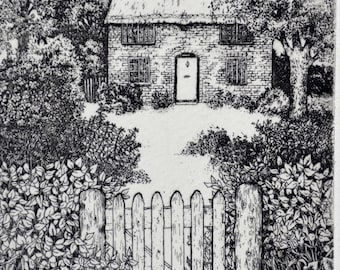 English Cottage garden, limited edition etching