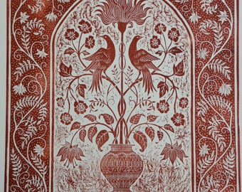 Large woodcut 'Terracotta Flowers with Birds' limited edition