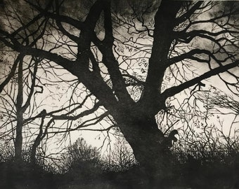 Tree silhouette etching limited edition black and white