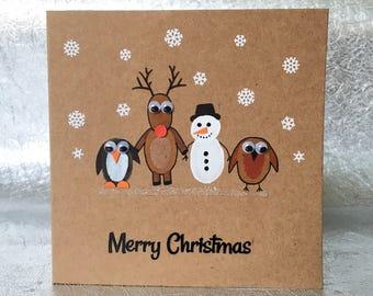 Weihnachtskarten Mit Fingerabdruck.Penguin Love Monty Handmade Christmas Card 4 X 4 Etsy