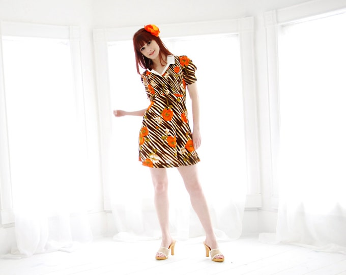 Vintage California poppy mini dress, puffed sleeves, zebra stripes, orange floral, collar, S
