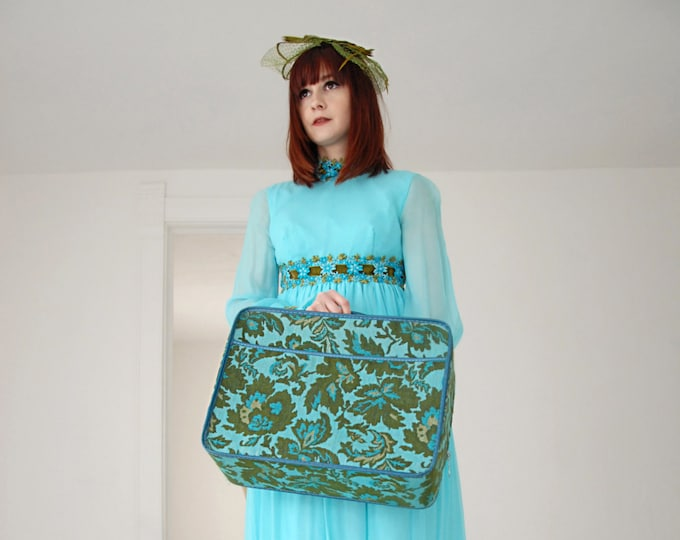 Vintage turquoise tapestry suitcase, green blue floral leaves small mod 1960s