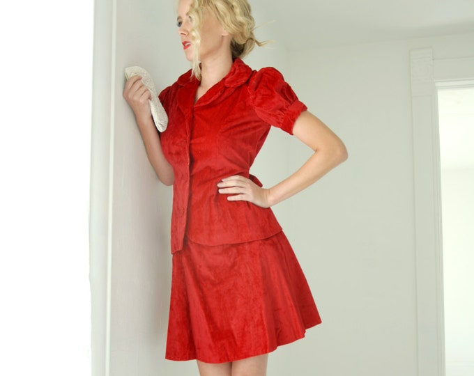 Vintage red velour two-piece dress set, puff sleeve top, mini skirt, 1970s XS S SALE