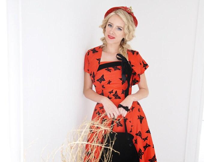 Vintage red strapless dress bolero set, black velvet butterflies novelty print, formal tulle 1950s XS SALE